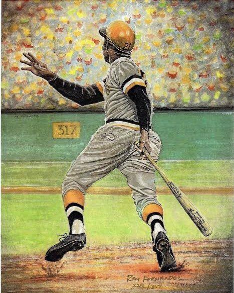 Roberto Clemente Pittsburgh Pirates By Ray Fernandez Baseball WallBaseball