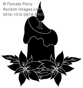 Christmas Candle Clip Art Black And White Silhouette Christmas Christmas Stencils Candle Clipart