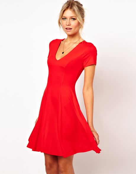 792605c1d1a6 Women s Red Skater Dress with V Neck and Short Sleeves