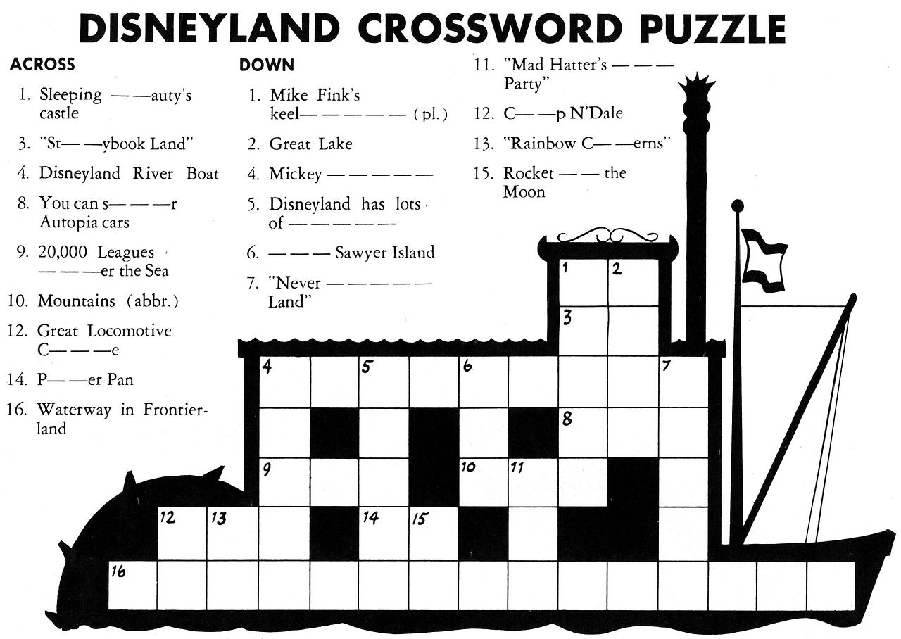 Disneyland Crossword Puzzle From Holiday Fall 1957