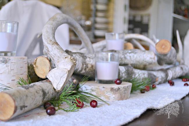 White Birch & Antler Christmas Centerpiece