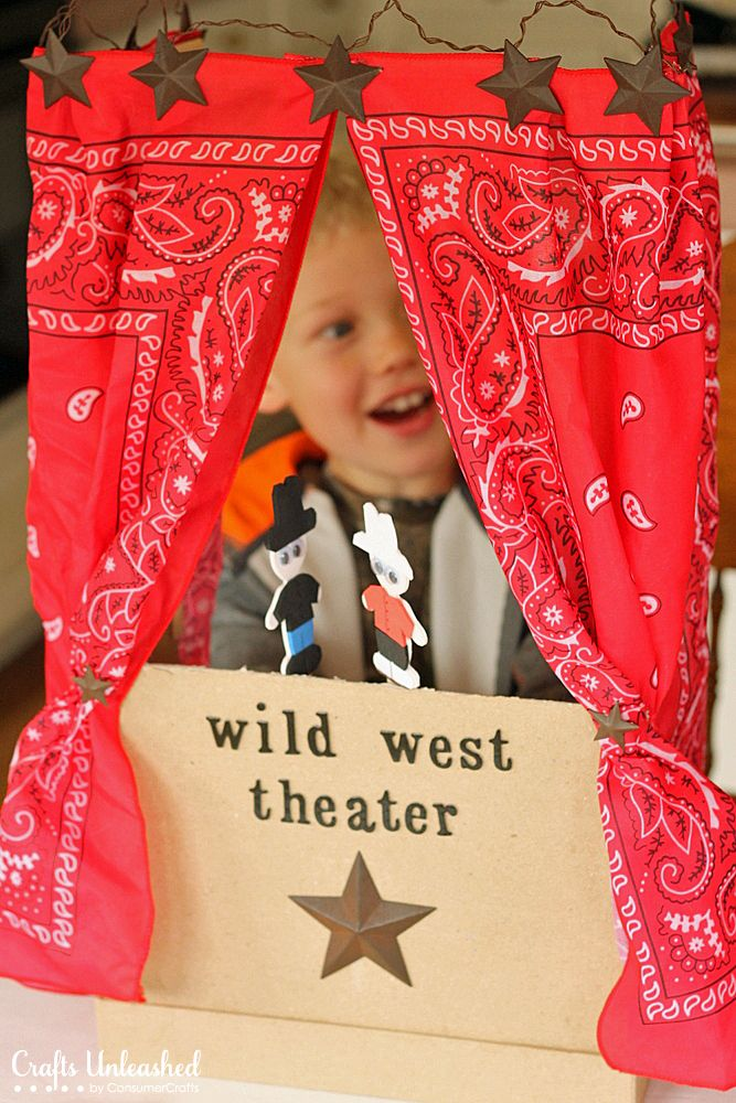 Make your own DIY puppet theater! I created a wild west theme, but you could change up the curtains and decorations to make any themed theater you desire.