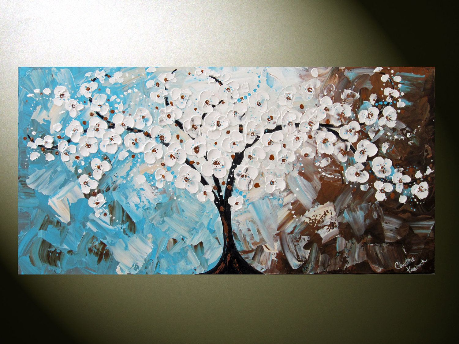 Blue and Brown Cherry Blossom Tree, would look awesome in our living room