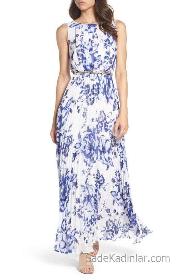 2020 Yazlik Cicekli Sifon Elbise Modelleri Beyaz Uzun Kolsuz Cicek Desenli Maksi Elbiseler Sifon Elbise Elbise Modelleri