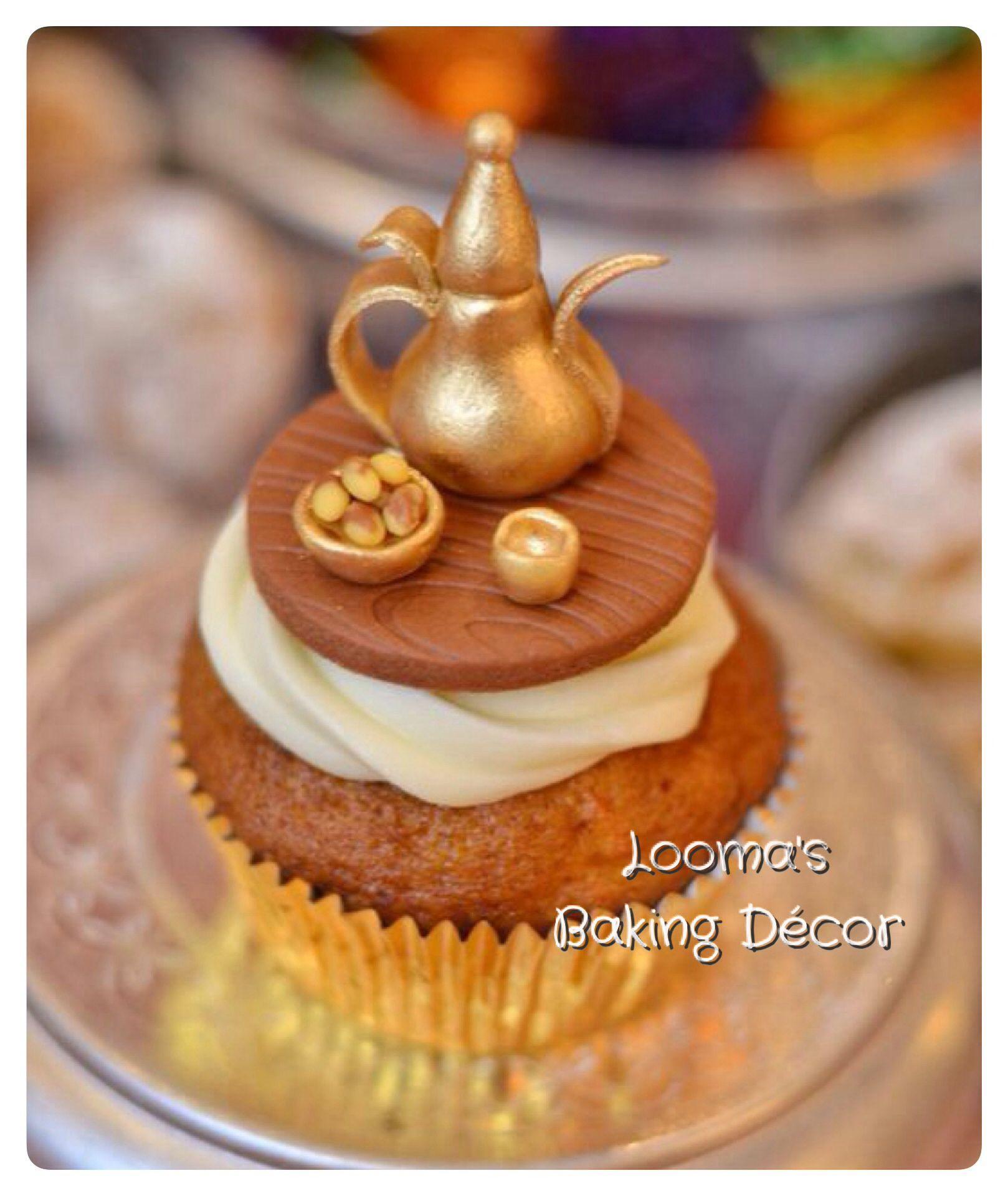 دلة القهوة العربية من مجموعتي ل كب كيك رمضان كب كيك القرقيعان Arabic Coffee Cupcake From My Ramadan Cupcake Collection Eid Cake Baking Let Them Eat Cake