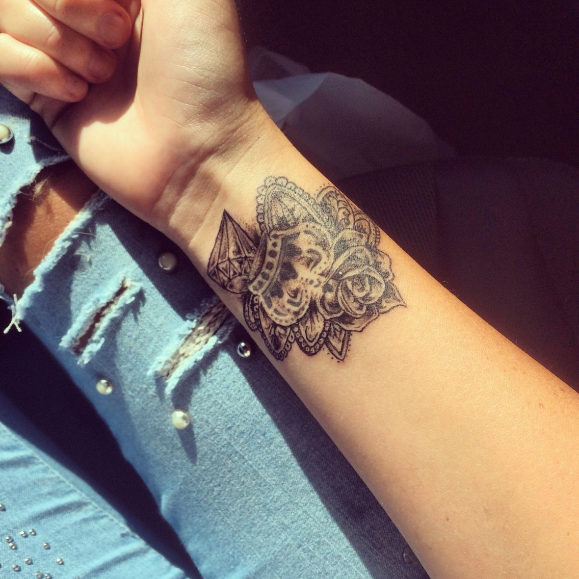 Rose Tattoo Around Wrist: Wrist Tattoo, Rose, Crown, Diamond, Leafs