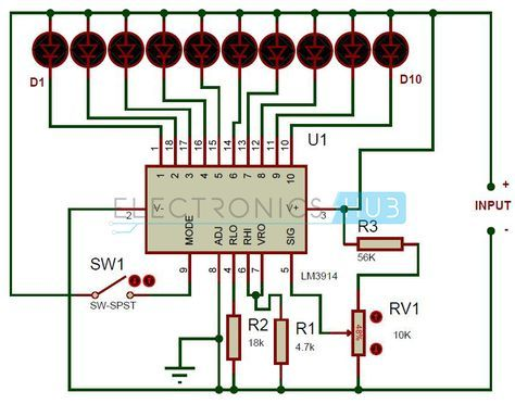 Battery Level Indicator Circuit Using Lm3914 Circuit Diagram Electronics Projects Diy Electrical Projects