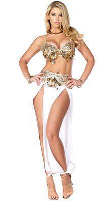 99443d1828 Harem Nights Costume Belly Dancer Slave Genie Sexy NEW! Halloween Gold White