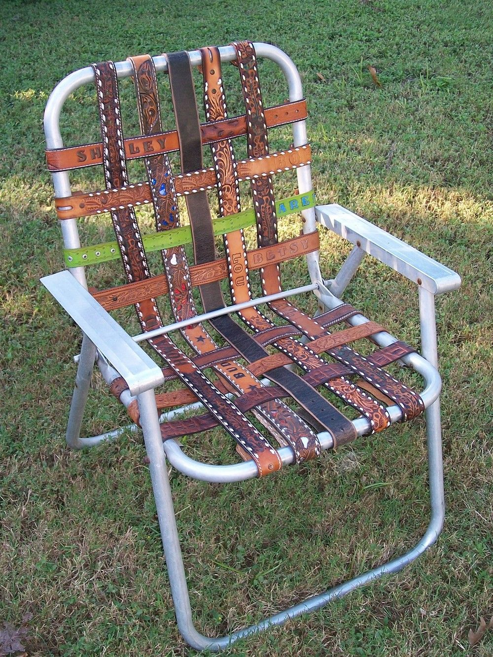 Vintage Aluminum Folding LAWN CHAIR Re Webbed With Vintage Western BELTS  Yee Haw.