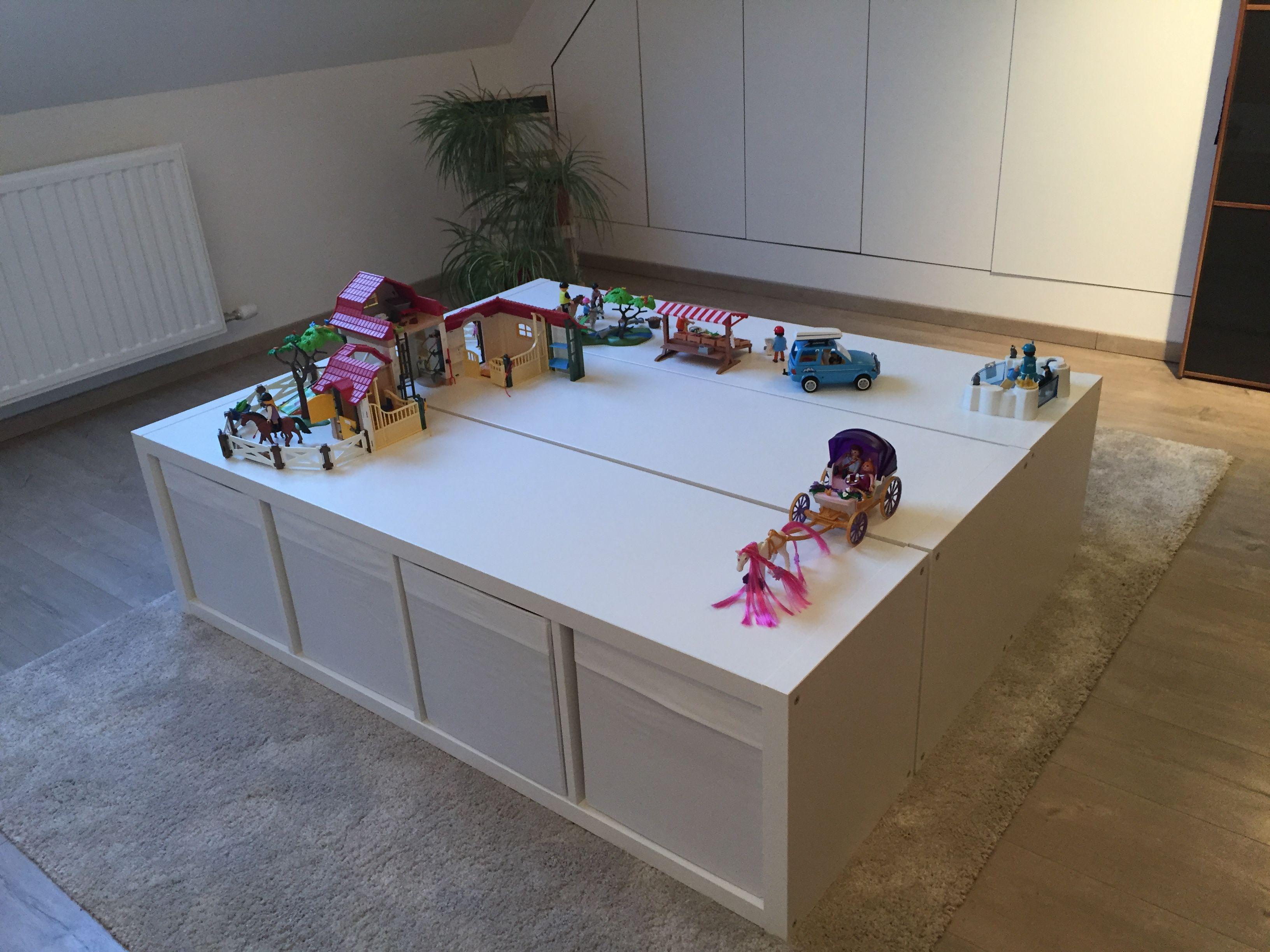 Wonderbaar PLAY MOBIL/ LEGO Speeltafel met 3 IKEA Kallas kasten met veel QS-44