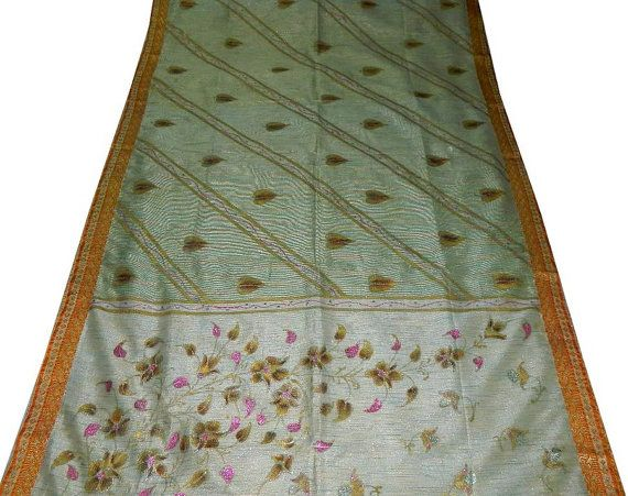 Pure Cotton Silk Vintage Saree Used Crisp Quilt Wrap Home Decor Scrap Sewing Recycled Motif Printed Floral Fabric Women Dress Crafted Sari