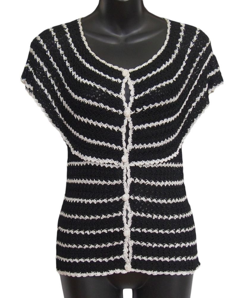 Details about M MISSONI Womens Cardigan Knit Crochet Black White ...