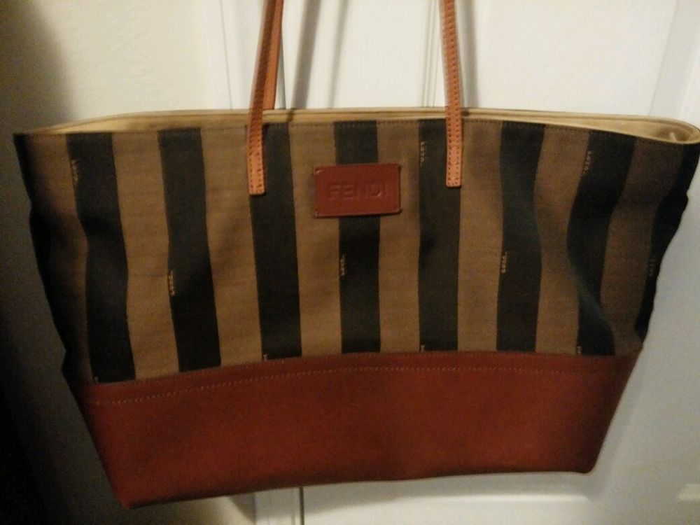 ... norway now selling on ebay fendi tobacco and brown stripe canvas and leather  tote bag must 0b80e41f12