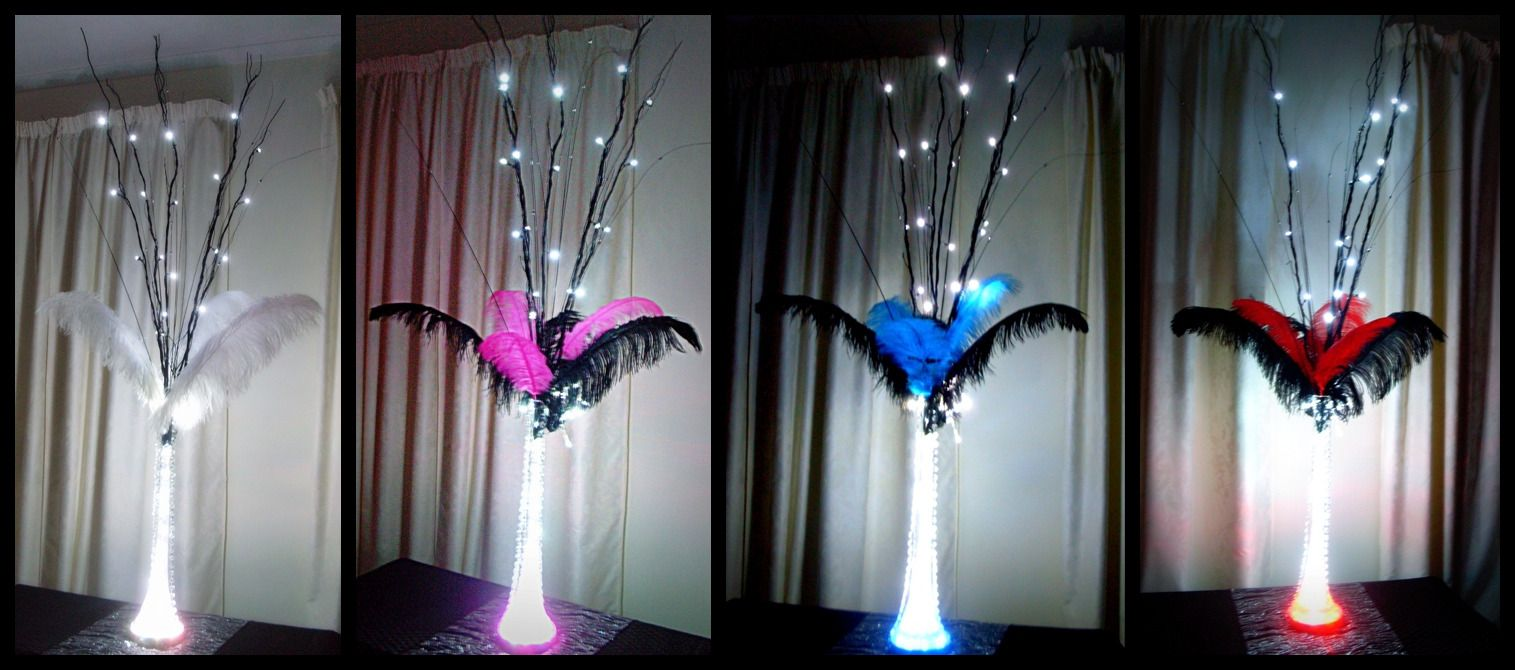 Ostrich feather table centrepiece decorations with extra