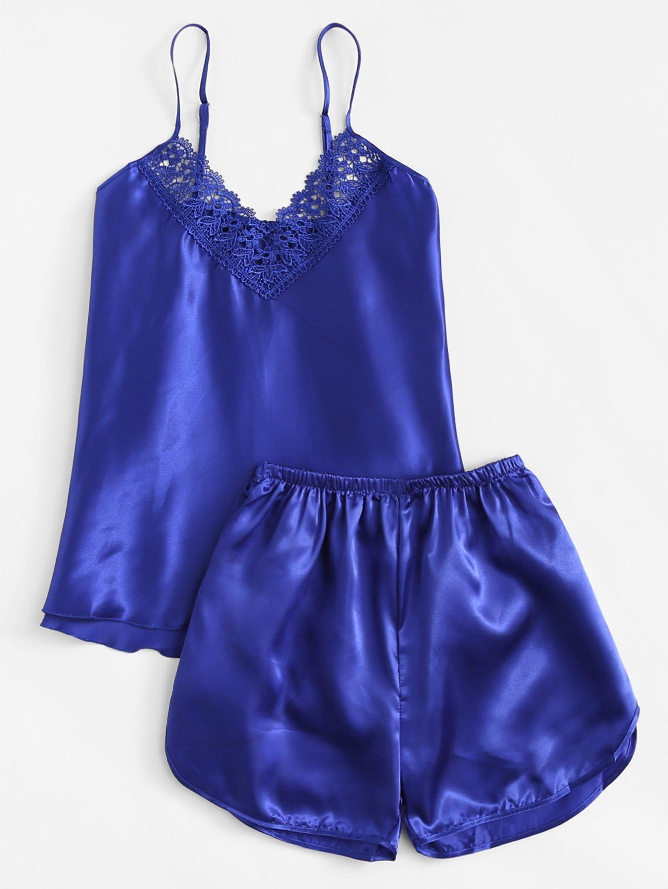 66b65be6bc Crochet Lace Detail Satin Pajama Set | Satin pajama sets and Products