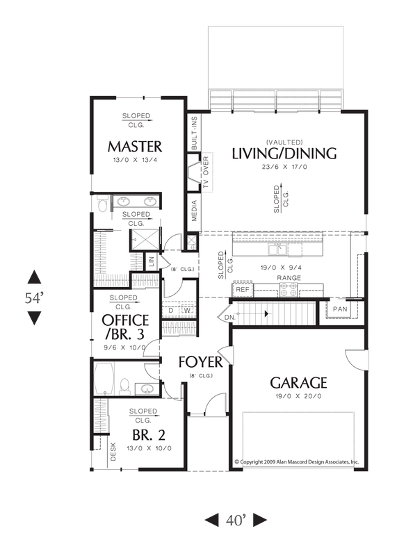 Main Floor Plan Of Mascord Plan 1164 The Brooklyn