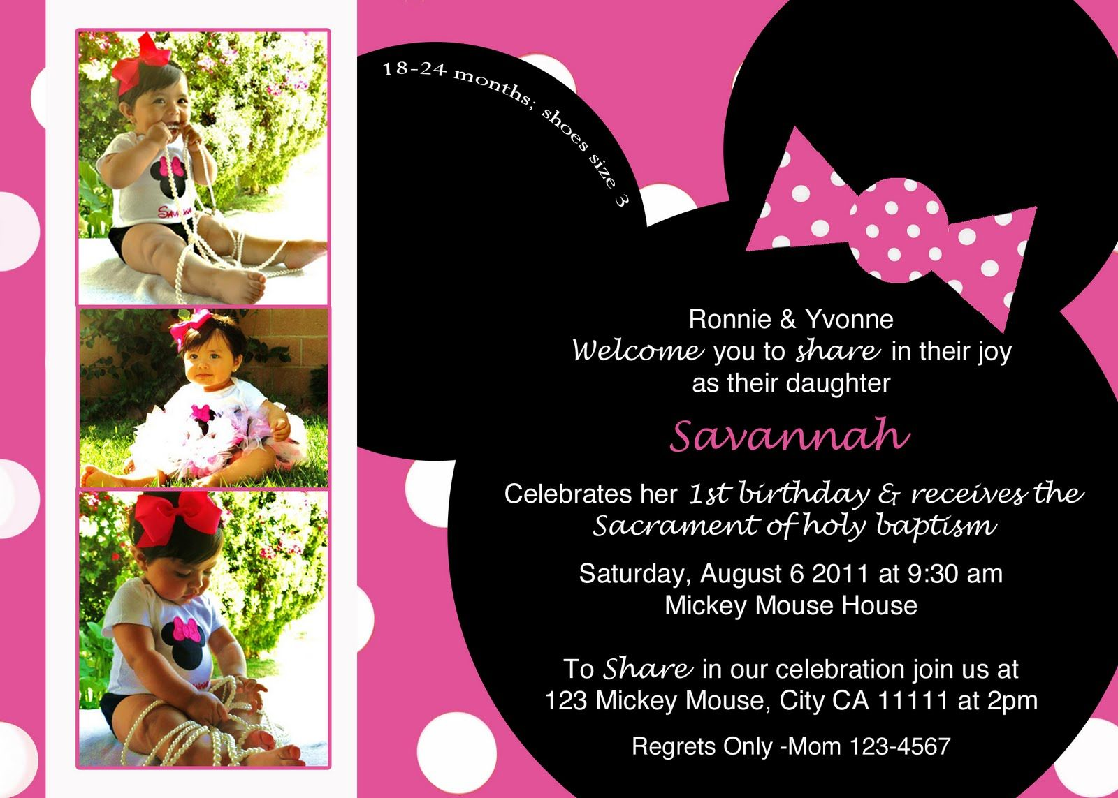 Free Minnie Mouse Invitations Templates – InviteTown | Emys 2nd ...