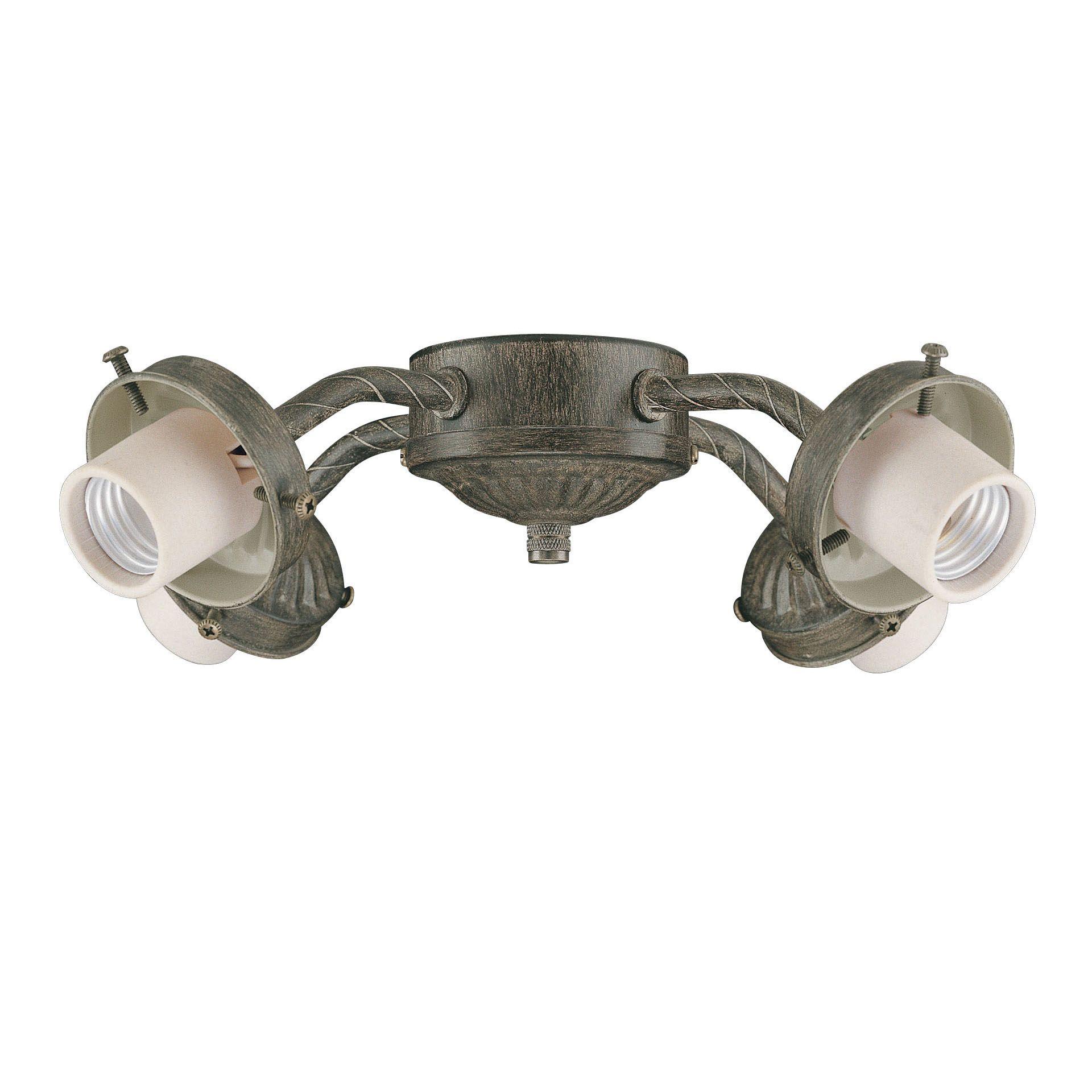 Four Light Aged Pecan Ceiling Fan Light Kit Pecan Metal