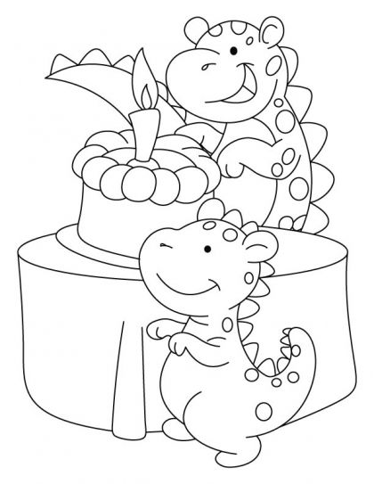 Dino birthday image | Happy birthday coloring pages ...
