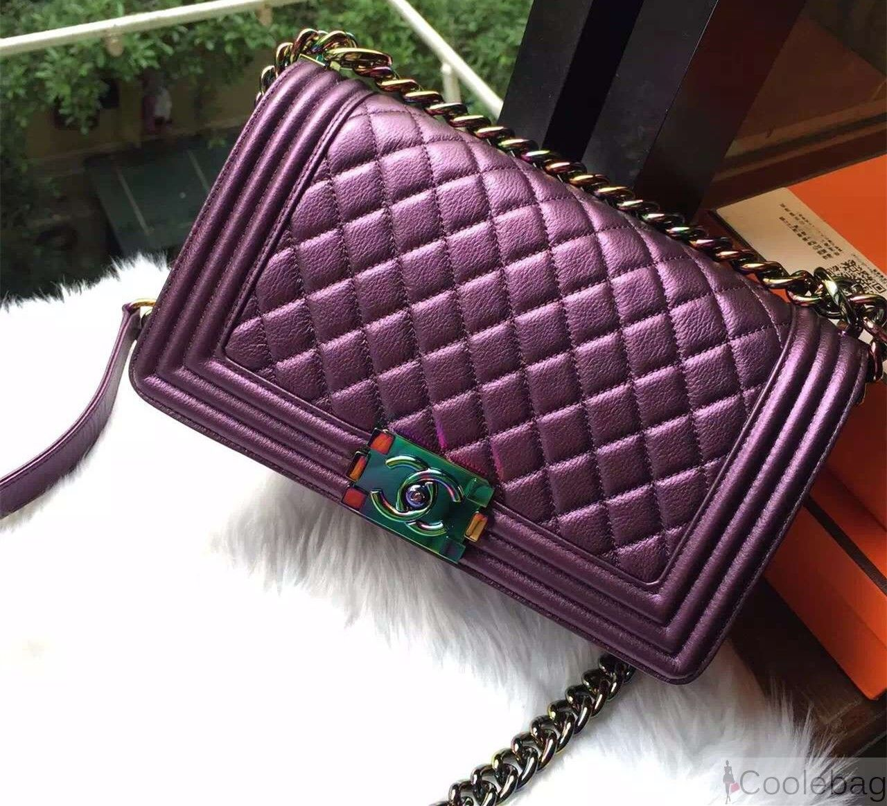 673d401fc89d CHANEL OLD MEDIUM BOY FLAP BAG WITH RAINBOW HARDWARE IN PURPLE ...