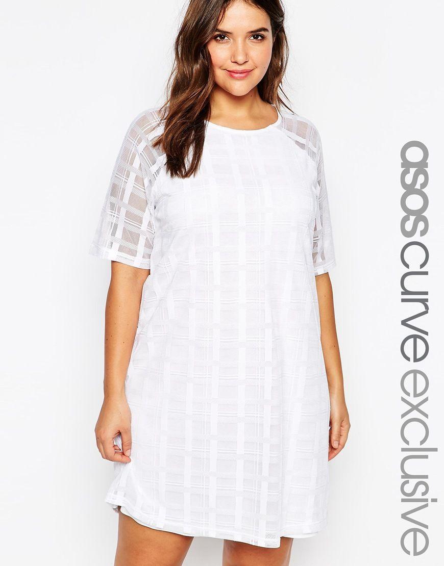 81c44c393a4 ASOS CURVE T-Shirt Dress in Stripe Grid Mesh
