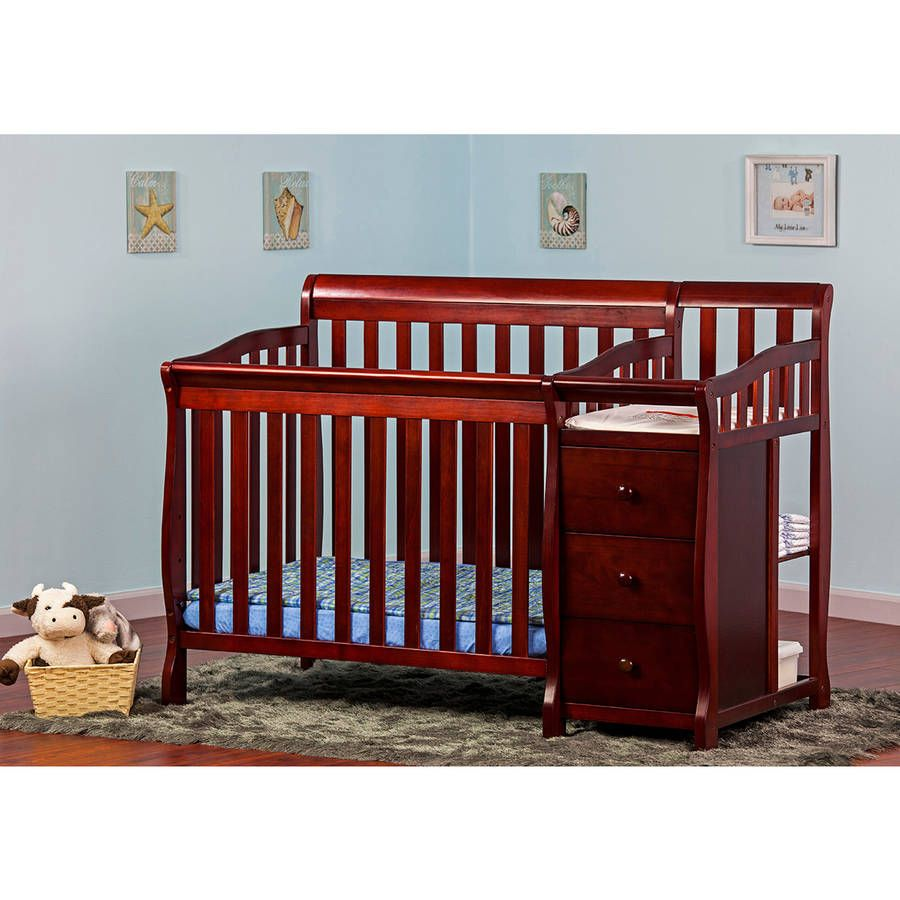 Admirable Dream On Me Jayden 4 In 1 Portable Cherry Finish Convertible Crib  With Changer Combo Features Sturdy Rails For Safety