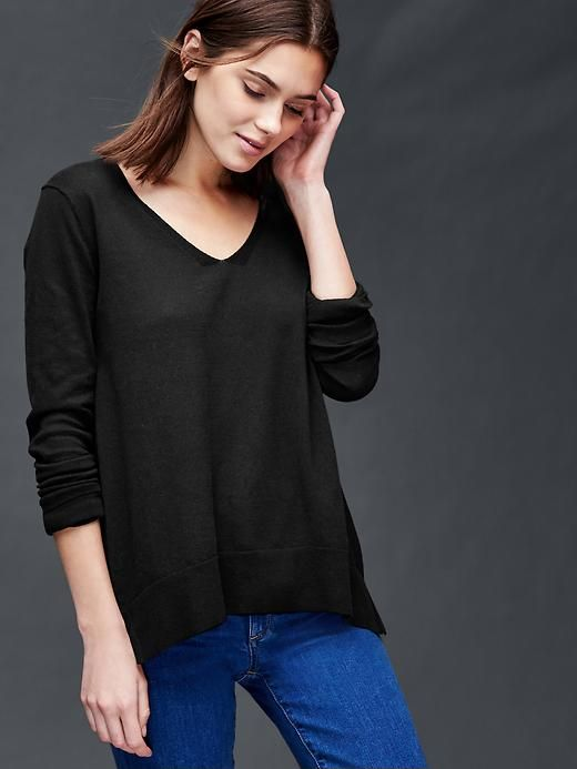 6cdd1909edda Cotton essential V-neck sweater Product Image | My Style | Black v ...