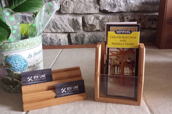 Oak brochure holder and business card display multiple business this solid red oak business card holder can hold up to 8 different sets of business colourmoves