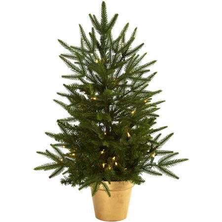 Nearly Natural 2-1/2' Christmas Tree with Golden Planter and Clear Lights
