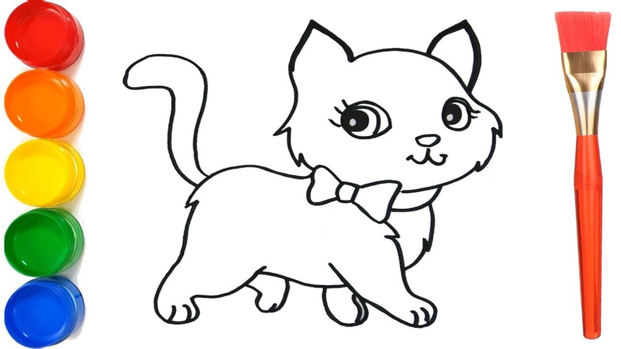 How To Draw A Cat For Kids Learn Drawing And Coloring For Child Kids Learning Learn To Draw Drawings