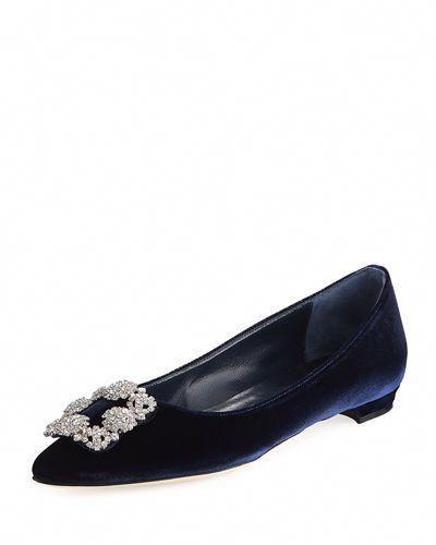 59f23187e4ec MANOLO BLAHNIK HANGISI CRYSTAL-BUCKLE VELVET FLAT.  manoloblahnik  shoes