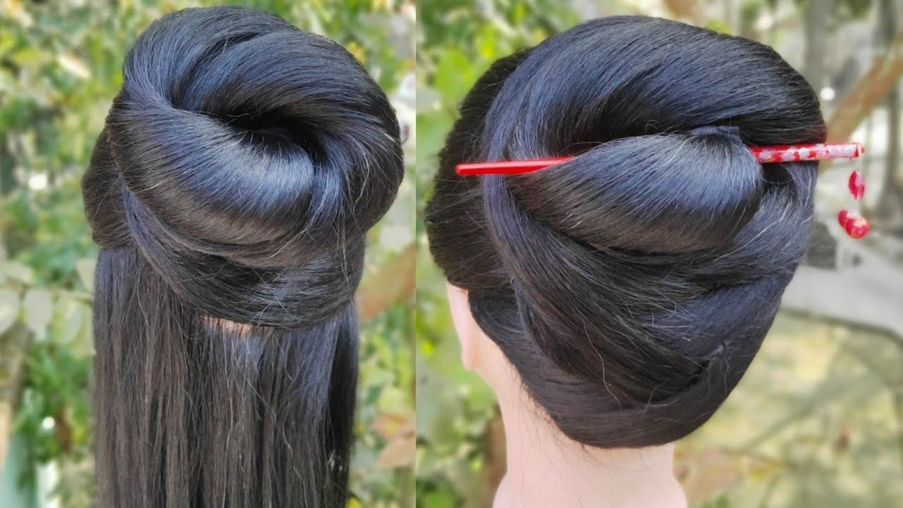 Easy And Amazing Juda Hairstyle With Using Bun Stick Girls Hairstyle Party Gown Hairsty Party Hairstyles Hairstyles For Gowns Girl Hairstyles