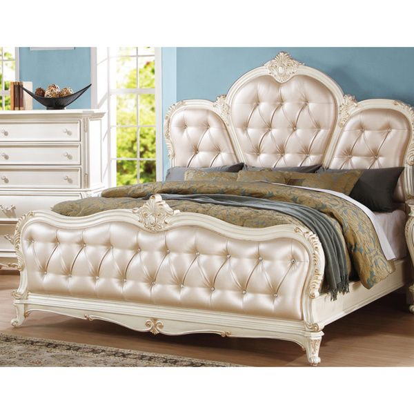 Meridian Pearl White Marquee Bed With Leather Headboard