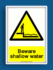 photograph regarding Free Printable Safety Signs named cost-free printable beware shallow h2o caution signal Free of charge