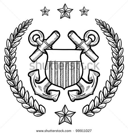 Doodle Style Military Rank Insignia For Us Navy Including Crossed