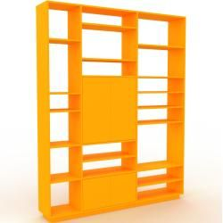 Photo of Wohnwand Gelb – Individuelle Designer-Regalwand: Türen in Gelb – Hochwertige Materialien – 190 x 239