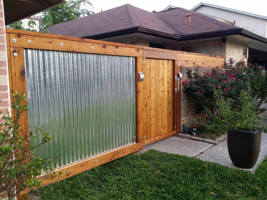 Rough Sawn Cedar Galvanized Corrugated Metal Fence Backyard