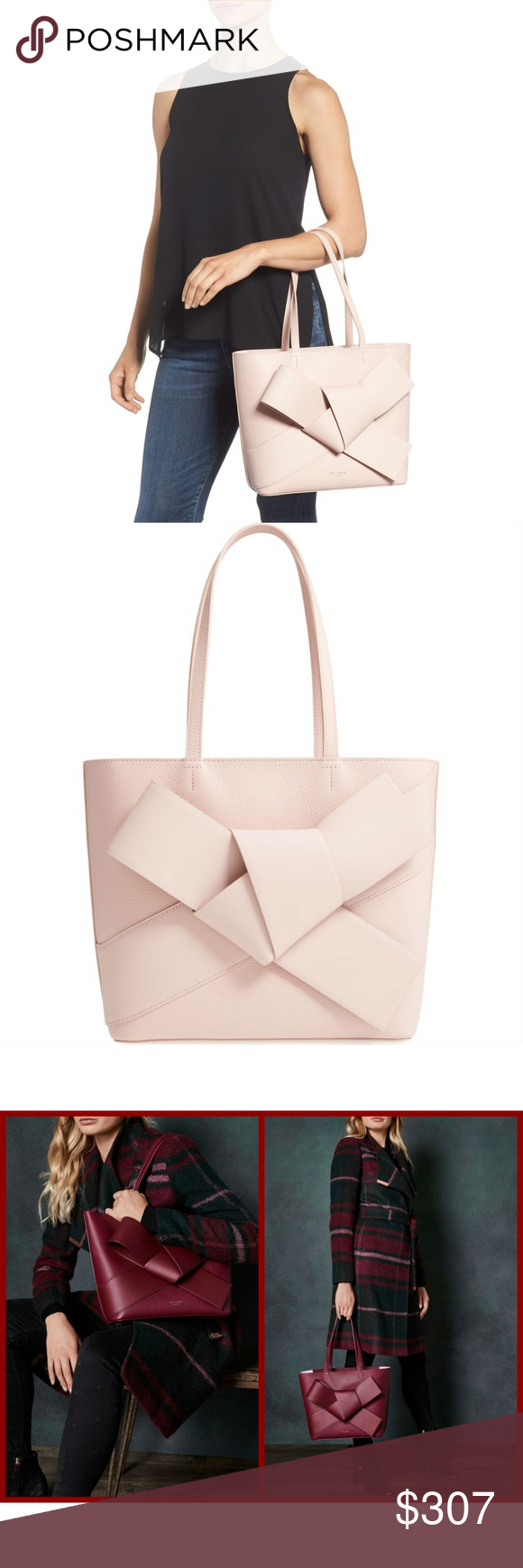 305faddde4 Ted Baker ALLIIE Giant Knot Leather Shopper Bag Color: 51-Dusty Pink Tie  your outfit together with Ted's statement ALLIE shopper. Perfect for  carrying your ...