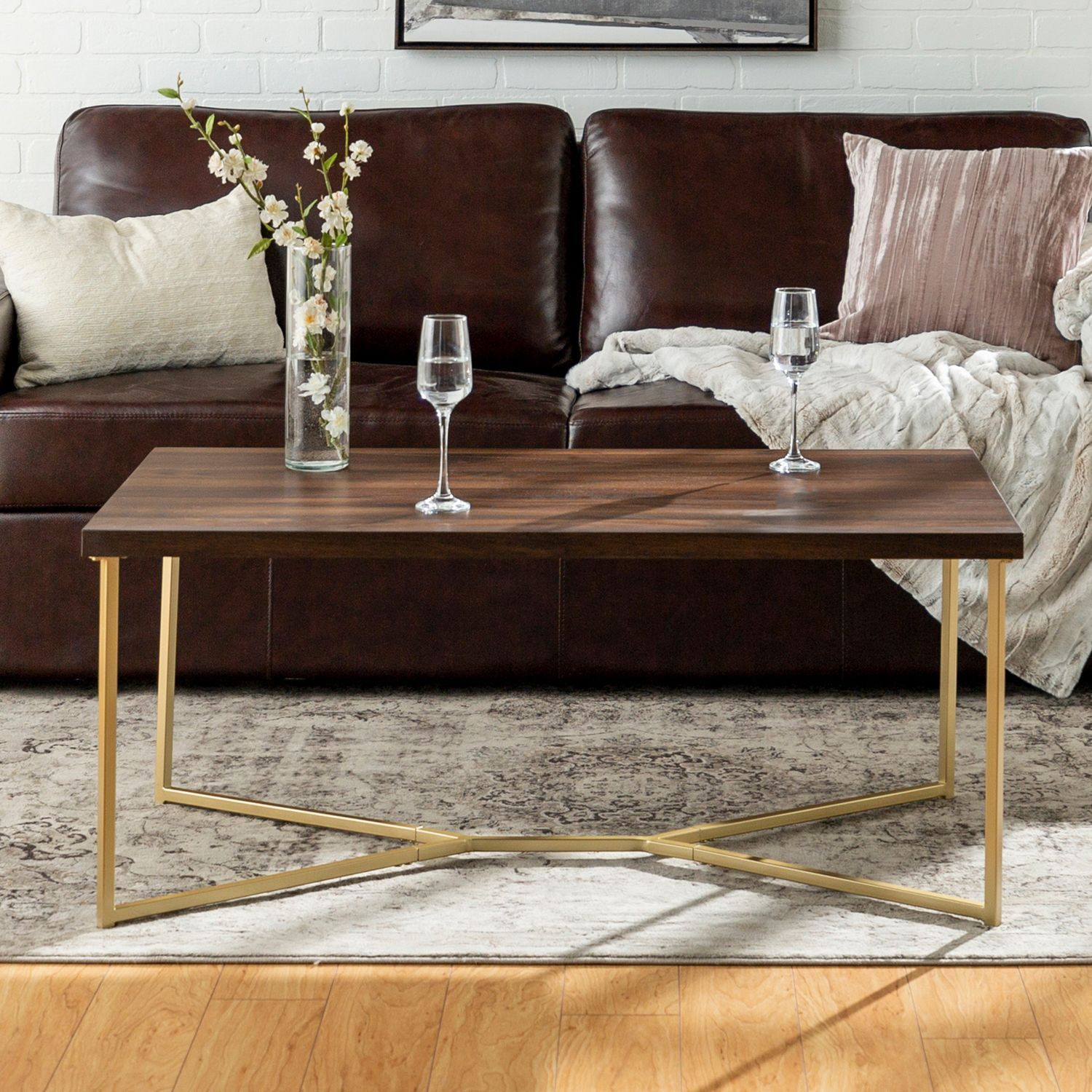 Contemporary Dark Walnut Gold Y Leg Coffee Table With Images