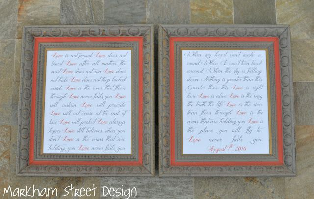 love that she typed up their wedding song and framed it. http ...