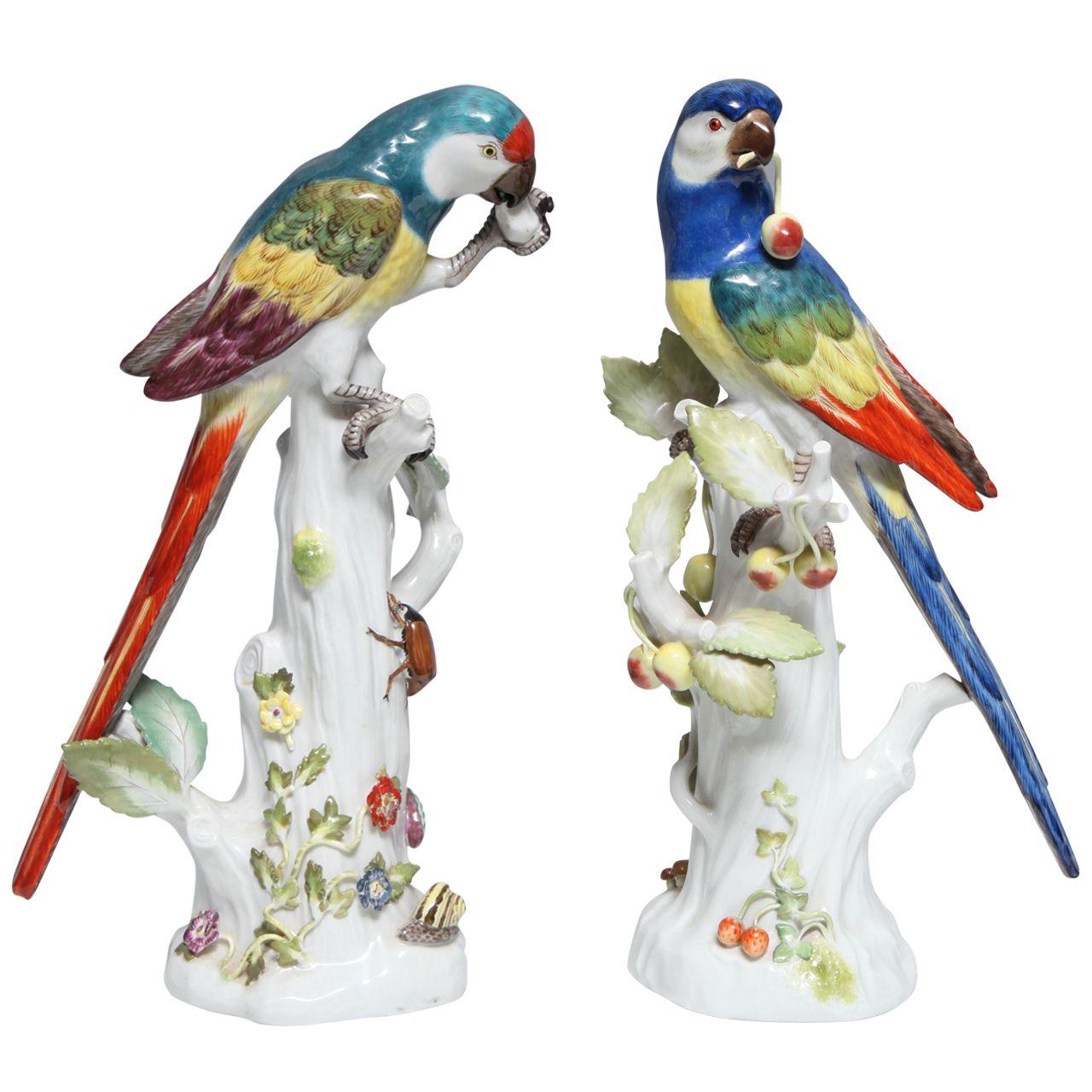 Pair Fine Antique German Meissen Porcelain Sculptures Of Parrots Sculptures Meissen Porcelain Painting