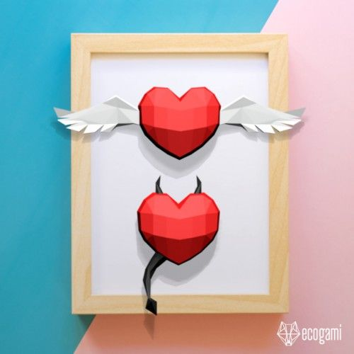 Make your own papercraft Saint Valentine objects with Ecogami's template