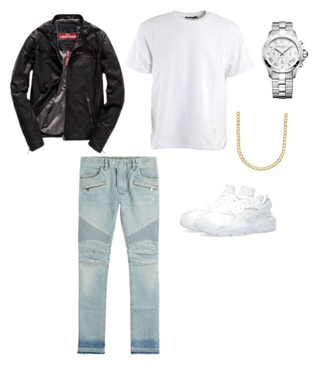 """""""Triple white"""" by giais ❤ liked on Polyvore featuring Superdry, Alexander Wang, Balmain, NIKE, Raymond Weil, Lord & Taylor, men's fashion and menswear"""