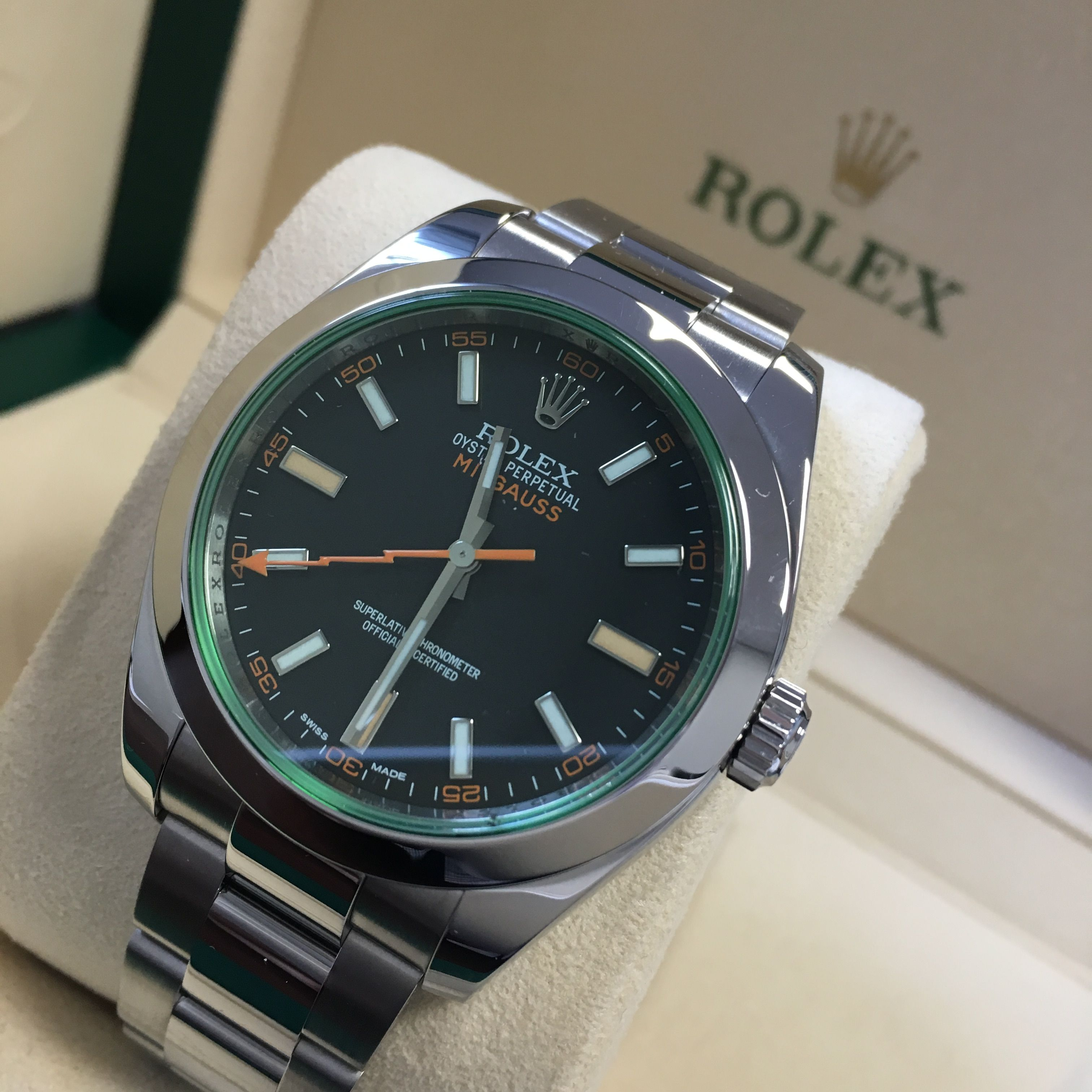 Save some £££\u0027s! Rolex Milgauss Black Dial Green Glass Get