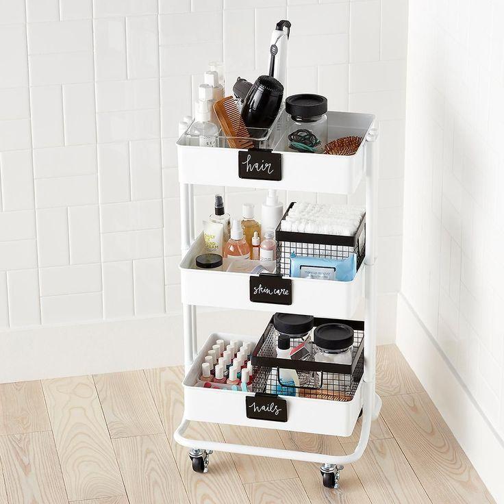 White 3 Tier Rolling Cart Organisation Maison Salle De Bain Design Diy Deco Chambre