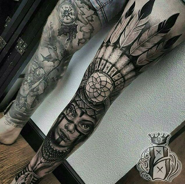 native american girl leg sleeve tattoos pinterest native american girls leg sleeves and. Black Bedroom Furniture Sets. Home Design Ideas
