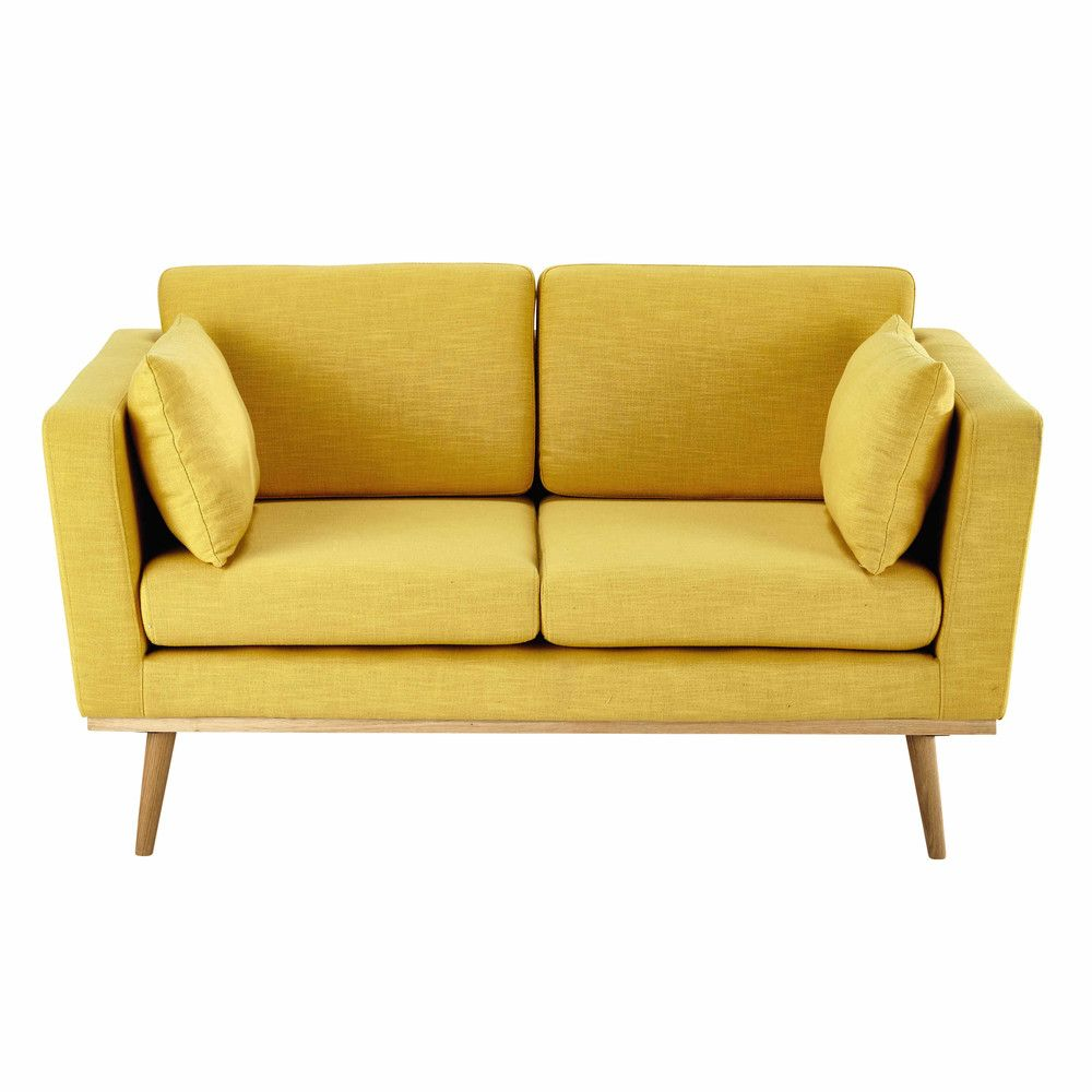 2 Seater Fabric Sofa In Yellow Maisons Du Monde Sofa Scandinavian Style Fabric Sofa 2 Seater Sofa