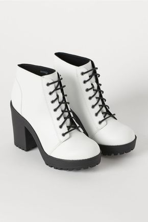 Platform Ankle Boots - White/faux leather - Ladies | H&M US