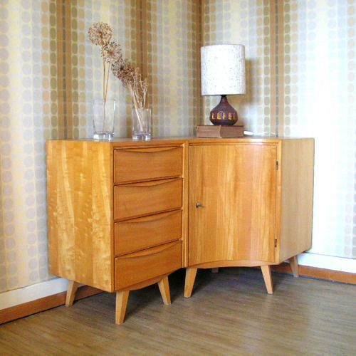 Fascinating Mid-Century Sideboard Design that Steal Your Attention : Sleek Original Mid Century Sideboard At Living Room Corner Decor With P...