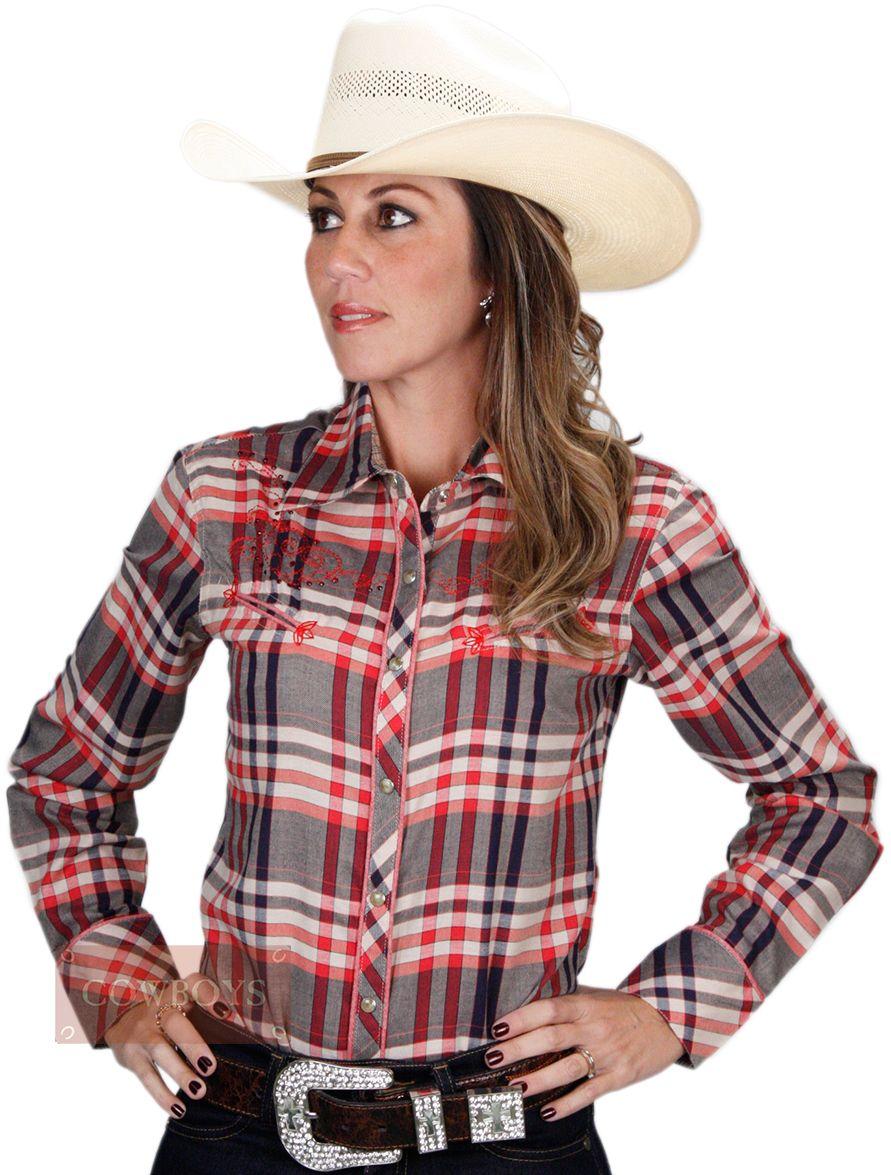 8aca4fbf9 Camisa Country Xadrez Bordada Cowgirl Up Camisa feminina